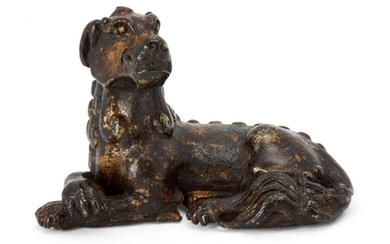 A Chinese parcel gilt bronze 'mythical beast' scroll weight, Ming...