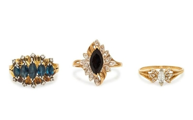 A Collection of Yellow Gold, Sapphire and Diamond