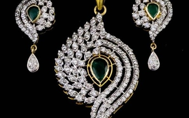 A Diamond and Emerald Pendant and Pair of Matching...