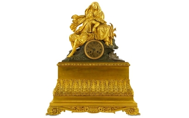A GILT AND PATINATED BRONZE FIGURAL CLOCK WITH BYRON IN THE ARMS OF GREECE