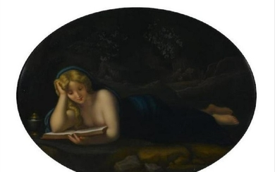 A German Porcelain Oval Plaque Penitent Magdalene