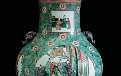 A Green Family vase, China, Qing Dynasty, 1800s