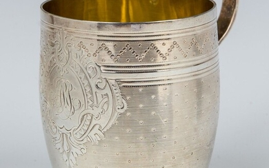 A LARGE SILVER HANDLED CUP. France, 19th century. Barrel...