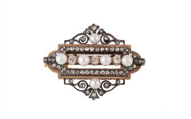 A LATE VICTORIAN DIAMOND AND CULTURED PEARL BROOCH, mounted ...