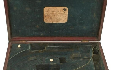 A MAHOGANY PISTOL CASE FOR A PAIR OF PERCUSSION
