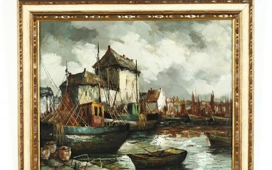 A Mid-Century Painting of a Belgian Harbor