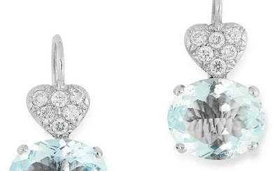 A PAIR OF AQUAMARINE AND DIAMOND EARRINGS each set with