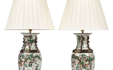 A PAIR OF CHINESE FAMILLE VERTE PORCELAIN VASES, MOUNTED AS LAMPS, 20TH CENTURY