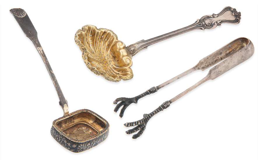 A PAIR OF RUSSIAN SILVER STRAINERS TOGETHER WITH TONGS, VARIOUS MAKERS, 19TH CENTURY