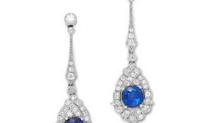 A PAIR OF SAPPHIRE AND DIAMOND DROP EARRINGS CIRCA 1950