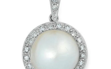A PEARL AND DIAMOND CLUSTER PENDANT set with a pearl of