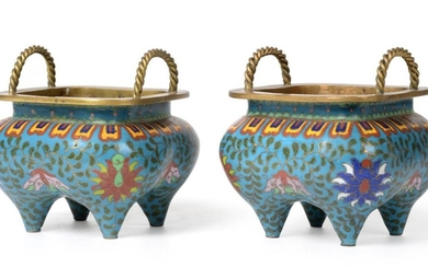A Pair of Chinese Cloisonné Enamel Incense Burners, possibly Qianlong,...