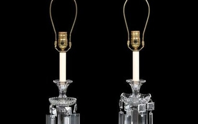 A Pair of Cut Glass Candlesticks Mounted as Lamps
