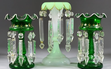 A Pair of Green Glass Lustre Vases, 19th Century,...
