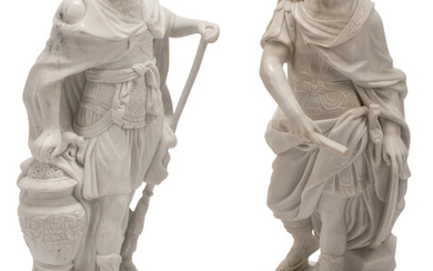 A Pair of Italian Carved Carrara Marble Figures of Roman Generals on Painted Wood Bases
