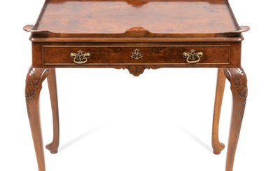 A Queen Anne Style Burlwood Side Table