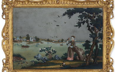 A REVERSE PAINTING ON MIRROR, QIANLONG PERIOD (1736-95)