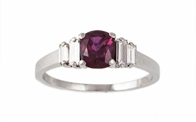 A RUBY AND DIAMOND RING, with one cushion cut ruby of 1.19ct...