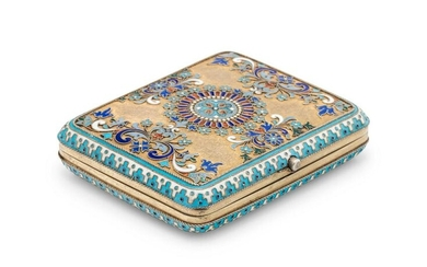 A Russian Silver-Gilt and Enamel Cigarette Case