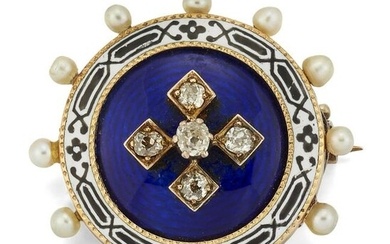 A VICTORIAN DIAMOND, PEARL AND ENAMEL BROOCH, the round