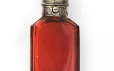 A Victorian Silver-Gilt Mounted Ruby-Glass Scent-Bottle Cum Vinaigrette, by Sampson...