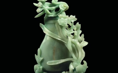 A carved jade vase, China, Qing Dynasty