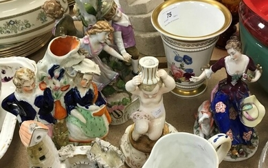 A collection of various china wares to include Dresden figur...