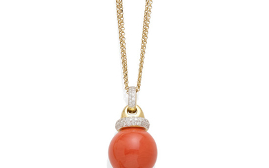 A coral and diamond pendant on chain