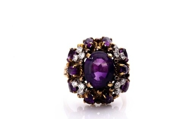 A diamond and amethyst cluster cocktail ring, the raised mou...