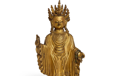 A gilt metal alloy figure of the Dipankara Buddha