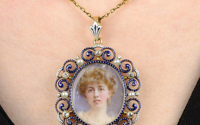 A late 19th century 18ct gold enamel, diamond and seed pearl portrait miniature pendant, with seed pearl accent chain.