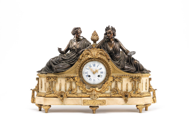 A late 19th century gilt and patinated bronze figural mantel clock