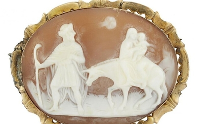 A late 19th century gold-mounted shell cameo...