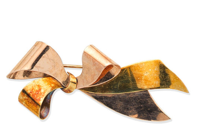 A mid 20th century bow brooch