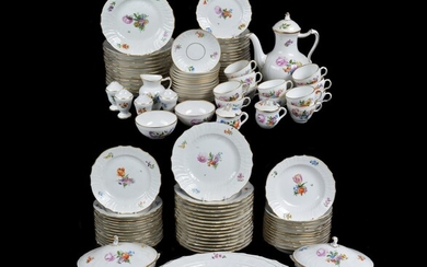A modern Royal Copenhagen part breakfast service in the 18th century Meissen style