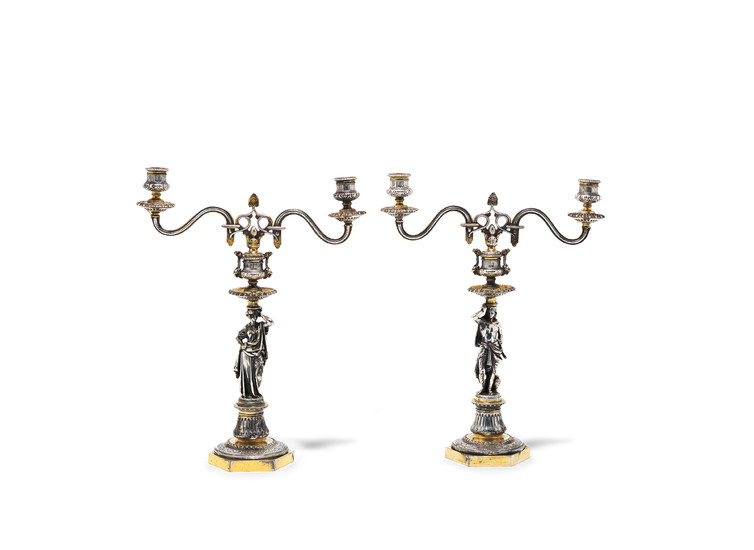 A pair of Victorian parcel-gilt silver-plated two-light candelabra