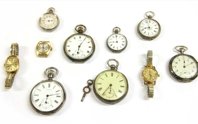 A quantity of silver pocket watches