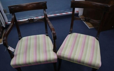 A set of eight Regency style mahogany dining chairs (six plu...