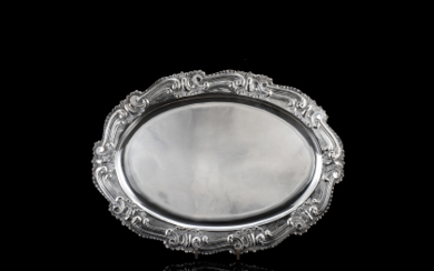 A silver tray. Titled 800, early 20th Century (cm...