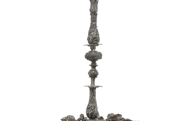 A ten-light patinated metal chandelier. Late 19th century. H. 75 cm. Diam. 50 cm.