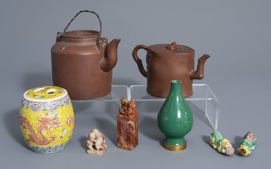 A varied collection of Chinese porcelain and two...