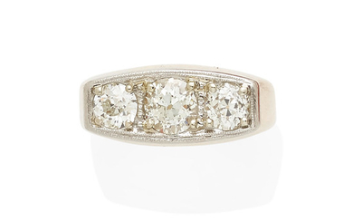 A yellow gold, platinum, and diamond ring