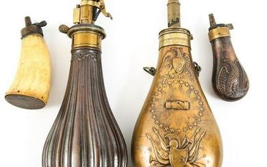AMERICAN 19th CENTURY POWDER FLASK & HORN LOT OF 4