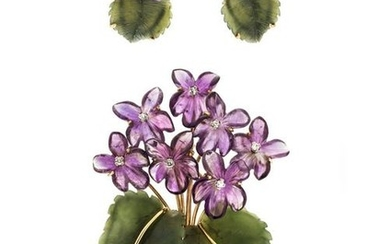 AMETHYST, HARDSTONE AND DIAMOND FLOWER MOTIF SET