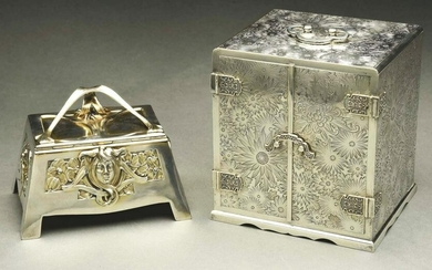 AN ASIAN STYLE STERLING JEWELRY BOX.