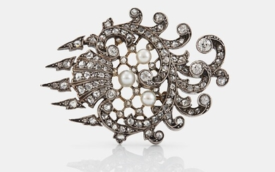 An 18K gold and silver brooch set with old- and rose-cut diamonds