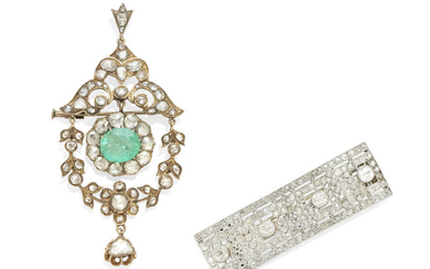 An emerald and diamond brooch together with a diamond bar brooch