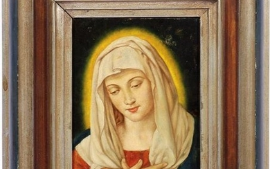 Anonymous, Holy Mary, oil on cardboard 23.5x16 cm