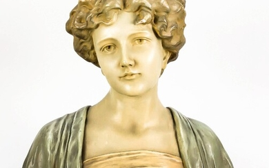 Anonymous sculptor around 1900, bust of a girl, polychrome painted plaster, on the reverse stamp ''FR legally protected'', dam., H. 34 cm