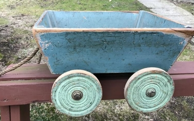 Antique Handmade & Hand Painted Wagon Pull Toy
